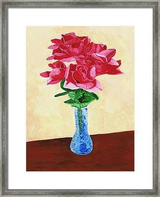 Framed Print featuring the painting Vase Of Red Roses by Rodney Campbell