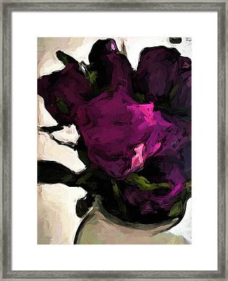 Vase Of Roses With Shadows 1 Framed Print