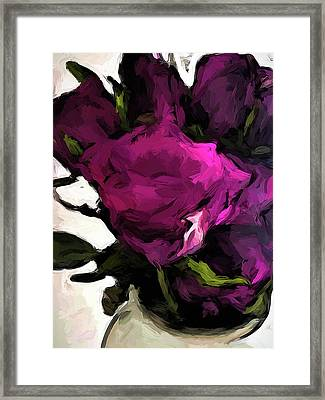 Vase Of Roses With Shadows 2 Framed Print
