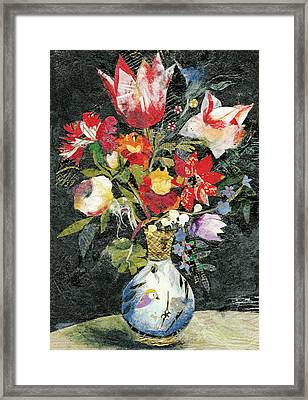 Vase With A Bird Framed Print by Nira Schwartz