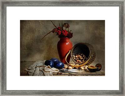 Vase With Basket Of Walnuts Framed Print