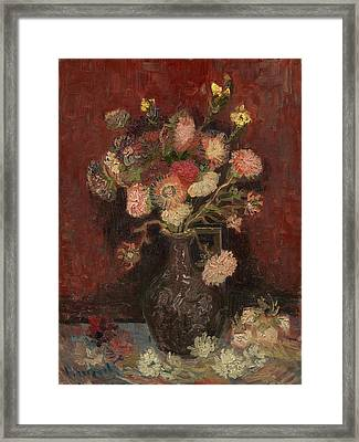 Vase With Chinese Asters And Gladioli Framed Print by Vincent Van Gogh