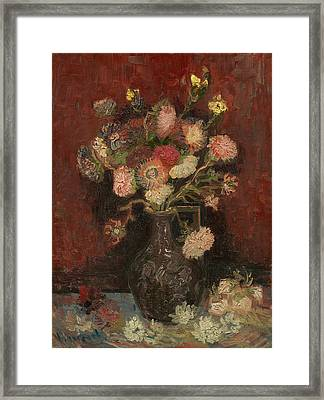 Vase With Chinese Asters And Gladioli Framed Print