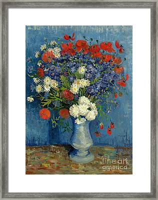 Vase With Cornflowers And Poppies Framed Print