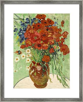 Framed Print featuring the painting Vase With Daisies And Poppies by Van Gogh