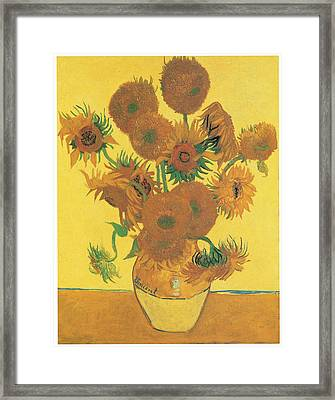 Vase With Fifteen Sunflowers Framed Print