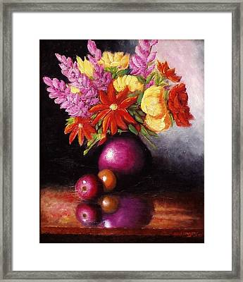 Framed Print featuring the painting Vase With Flowers by Gene Gregory
