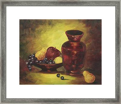 Vase With Fruit Bowl Framed Print by Cathy Robertson