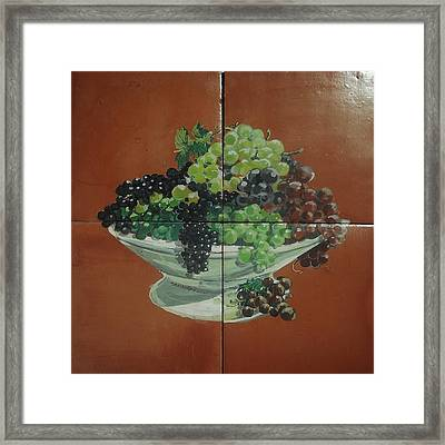 Vase With Grapes Framed Print by Andrew Drozdowicz