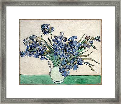 Framed Print featuring the painting Vase With Irises by Van Gogh