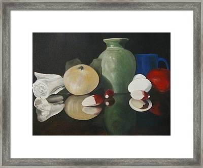 Vase With Radishes Framed Print