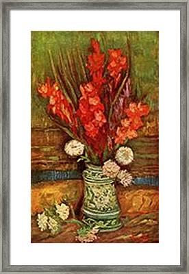 Vase With Red Gladioli Framed Print by Vincent Van Gogh