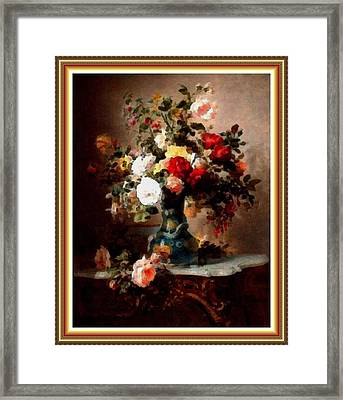 Vase With Roses And Other Flowers L B With Alt. Decorative Ornate Printed Frame. Framed Print