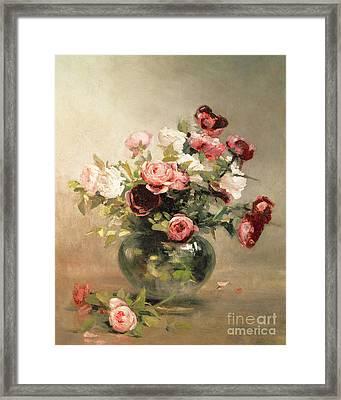 Vase With Roses Framed Print