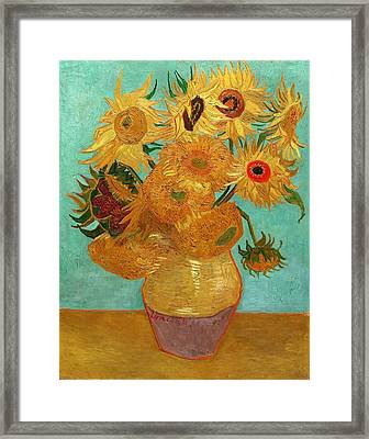 Framed Print featuring the painting Vase With Twelve Sunflowers by Van Gogh