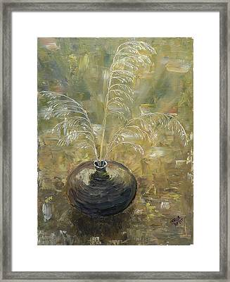Vase With Wheat. Framed Print by Mila Ryk