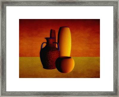 Vases In Warm Tones Framed Print