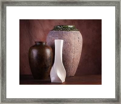 Vases With A Twist Framed Print by Tom Mc Nemar