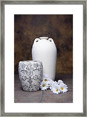 Vases With Daisies I Framed Print