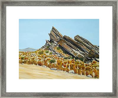Vasquez Rocks Looking South Framed Print by Stephen Ponting