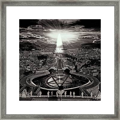 Vatican Rocking View Black And White Framed Print