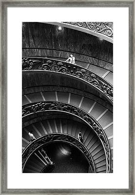 Framed Print featuring the digital art Vatican Stairs by Julian Perry