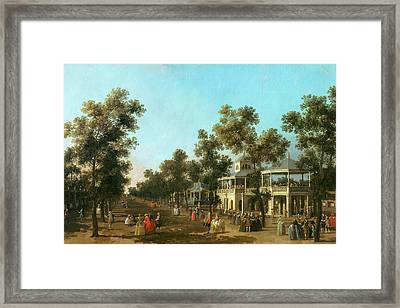 Vauxhall Gardens The Grand Walk Framed Print by Canaletto