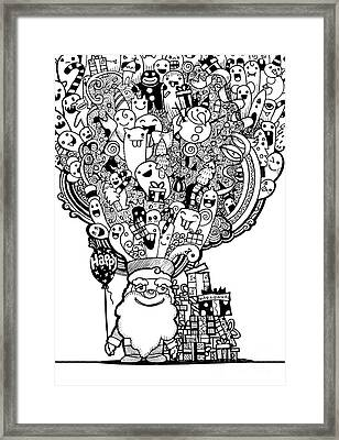 Vector Illustration Of Doodle Christmas Background ,hand Drawing Framed Print