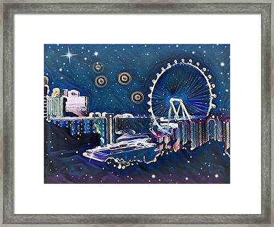 Vegas High Rollin Starry Nite Framed Print