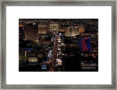 Vegas Night Lights Framed Print by Linda Phelps