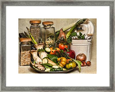 Vegetable And Canisters Still Life Stl697793 Framed Print