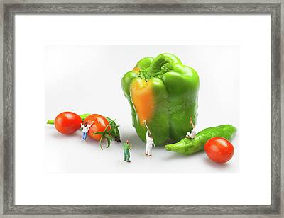 Framed Print featuring the painting Vegetable Painting Little People On Food by Paul Ge