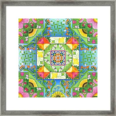 Vegetable Patchwork Framed Print by Isobel  Brook Haslam