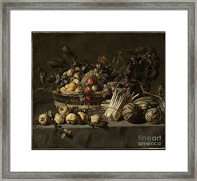 Vegetables And A Basket Of Fruit On A Table  Framed Print