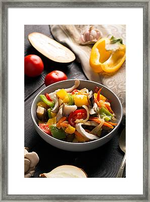 Vegetables Stir Fry Framed Print by Vadim Goodwill