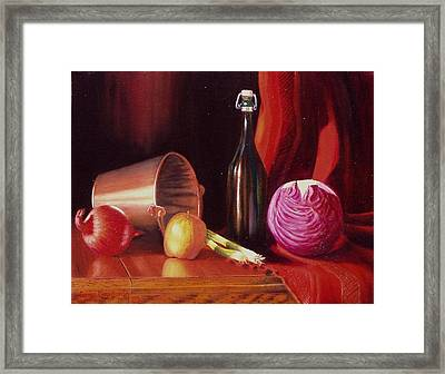Framed Print featuring the painting Veggie Bucket. by Gene Gregory