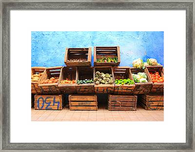 Framed Print featuring the photograph Veggies And The Blue Wall by Ramona Johnston