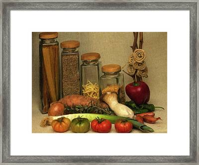 Vegtables Canisters And Herbs Still Life Framed Print