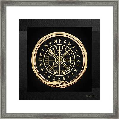 Vegvisir - A Magic Icelandic Viking Runic Compass - Gold On Black Framed Print