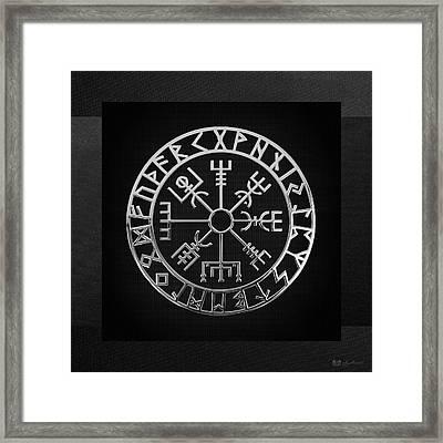 Vegvisir - A Magic Icelandic Viking Runic Compass - Silver On Black Framed Print