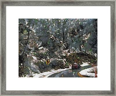 Vehicle In Icy Conditions Framed Print by Ashish Agarwal
