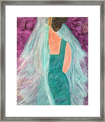 Framed Print featuring the painting Veiled In Teal by Annette McElhiney