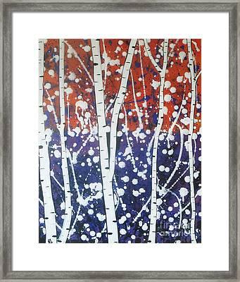 Aspen Trees On The Lake Framed Print by Vesna Antic