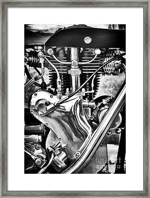 Velocette Venom Engine Monochrome Framed Print by Tim Gainey
