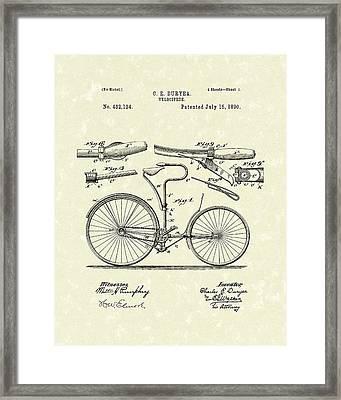 Velocipede 1890 Patent Art Framed Print