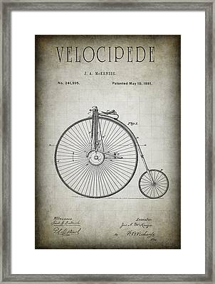 Velocipede Patent 1881 Framed Print by Daniel Hagerman