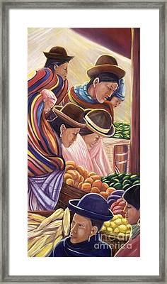 Vendors In La Paz Bolivia Framed Print by George Chacon