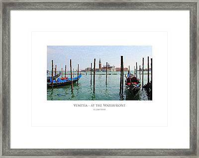 Framed Print featuring the digital art Venetia - At The Waterfront by Julian Perry