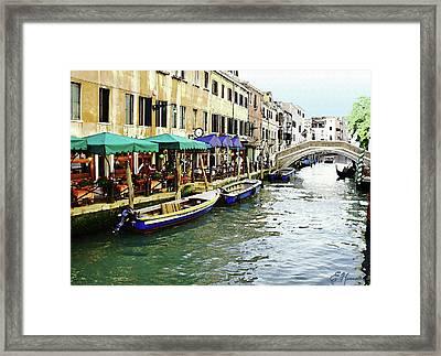 Venetian Cafes Framed Print by Ellen Henneke