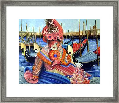 Venetian Carneval Mask With Gondolas Framed Print